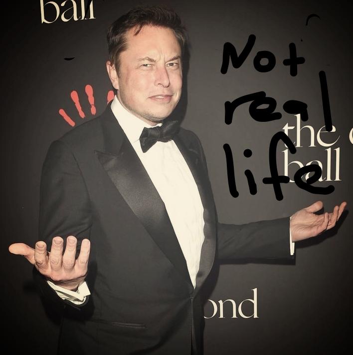 Elon Musk shrugging.
