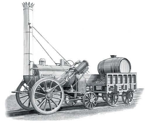 Coal-Powered Rocket Ship. Prototype by George Stephenson.