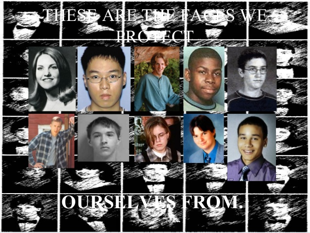 Photo from slideshow.net of a number of school shooters.