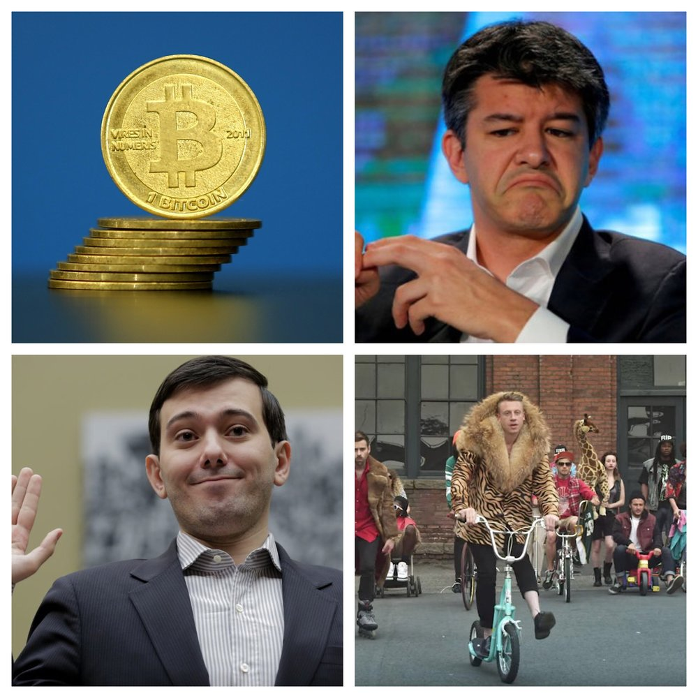 Not everything in the Millennial's budding history is good. (Clockwise L to R:) Bitcoin is another money scam, the same as the dollar; Uber's founder, and gross former and disgraced CEO Travis Kalanick; Macklemore trying way, way, way, too hard to be clever, cute and influential; A turd even Satan is repulsed by, Martin Shkreli.