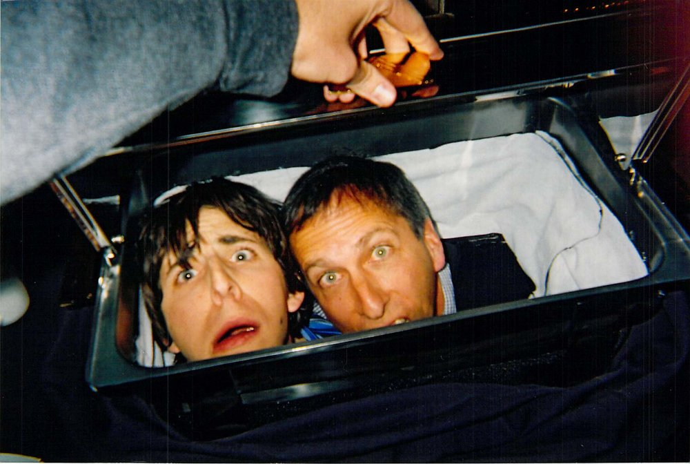 """On the menu tonight: human heads!"" The author and his father hide under an empty buffet chafer to the surprise of the other guests at an exclusive Las Vegas party. It was all the old man's idea."