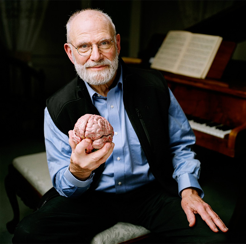 Oliver Sacks holding his own brain (at least that's what he told us...)