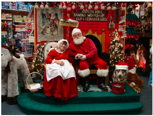 Mrs. Claus and The Jolly One get ready to pack up and leave for a warmer climate.