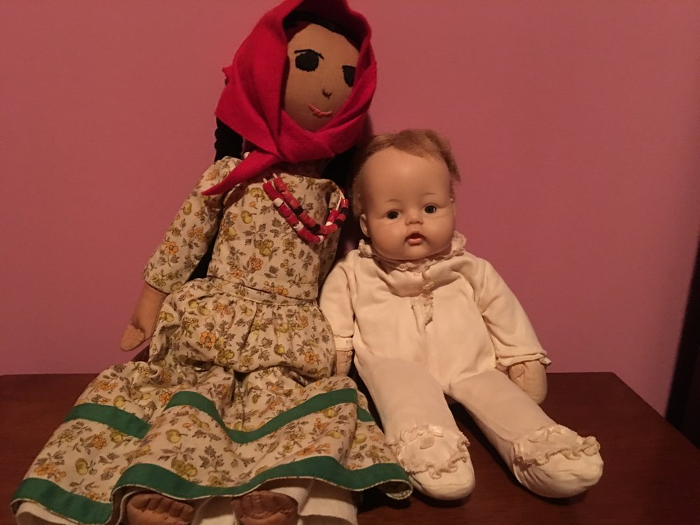 Left: Choctaw doll from my childhood. Right: Madame Alexander 1968 Huggums from Granduncle Mark.