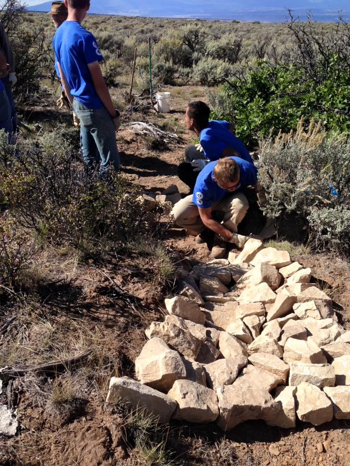 A Youth Crew in Crawford, Colorado installs structures to reduce erosion and improve habitat for the rare Gunnison sage-grouse.