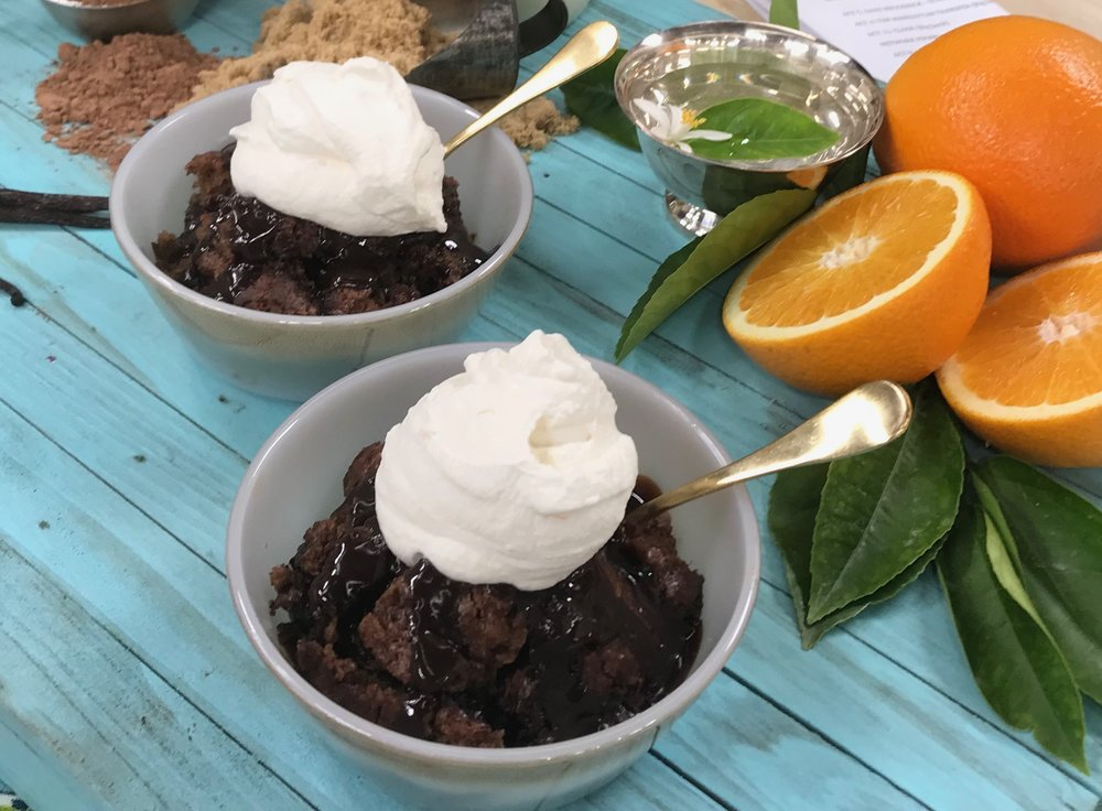 Mocha Fudge Cobbler with Zested Orange Whipped Cream  VIDEO HERE