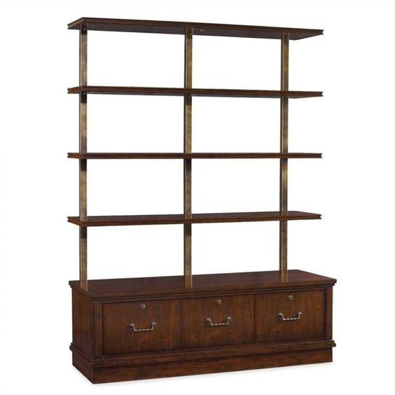 {F-3} Hooker Palisade 3 Drawer 4 Shelf Bookcase