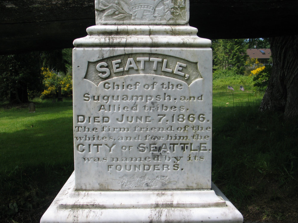 Tombstone of Chief Seattle in Suquamish, WA - Photo by Daniel M. Short