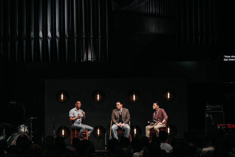 Panelists Pastor Ray Causly and Professor Alexander Jun talk about race and the local church with moderator Pastor Michael Lee