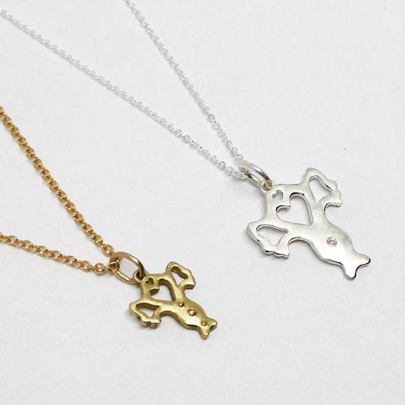 (Left) Small Utero Pendant-18k Yellow Gold & Beaded Texture    (Right) Large Utero Pendant-Sterling Silver and Diamond