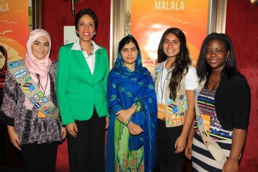 Activist Malala Yousafzai with Anna Maria Chavez
