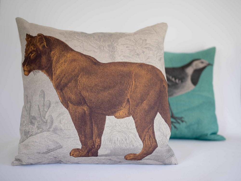 ideawood 'Kingdom' cushions printed on natural linen