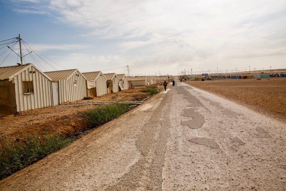 Eerily quiet streets in Azraq Camp