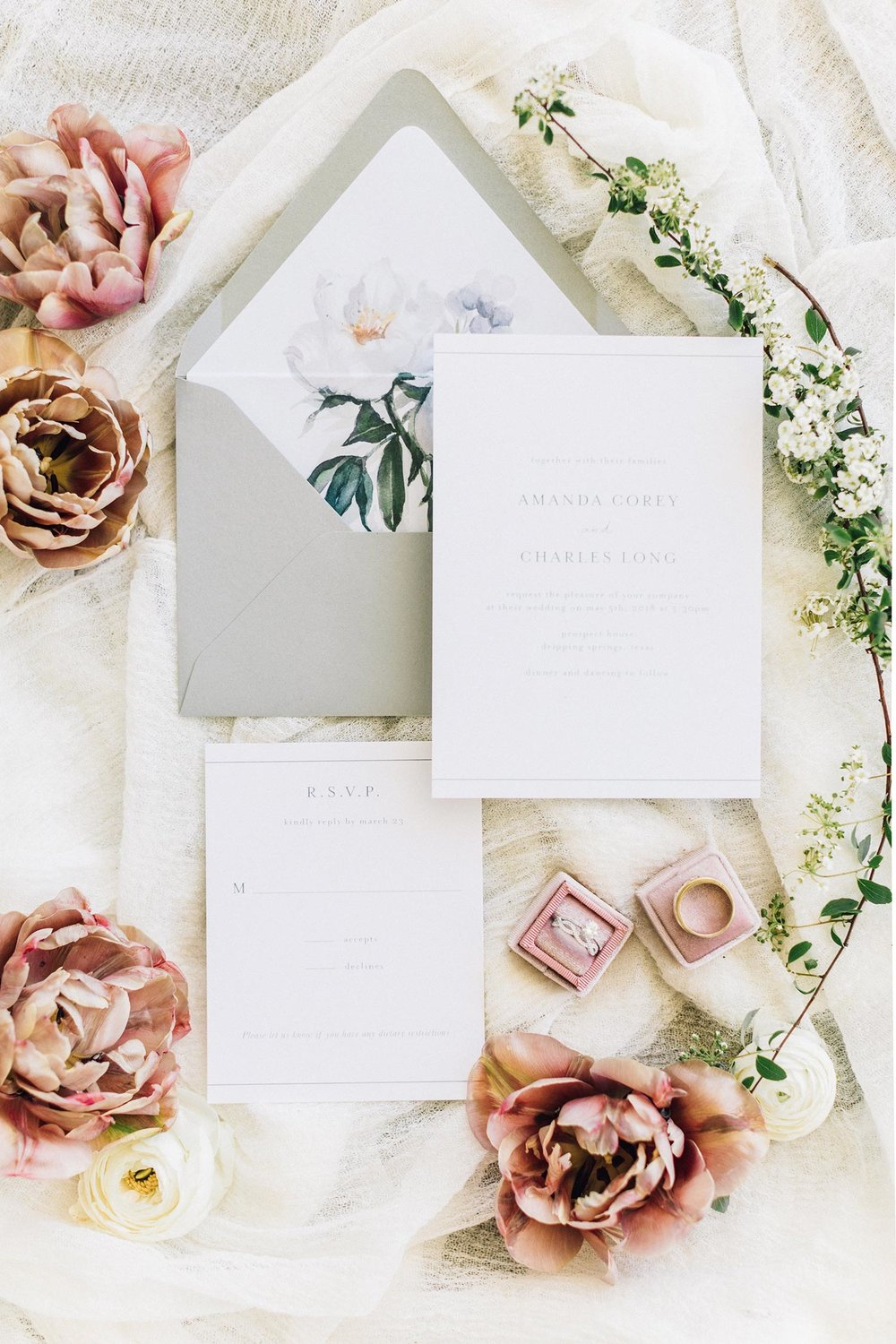 Hand-lettered stationary & flowers by Color Theory Collective