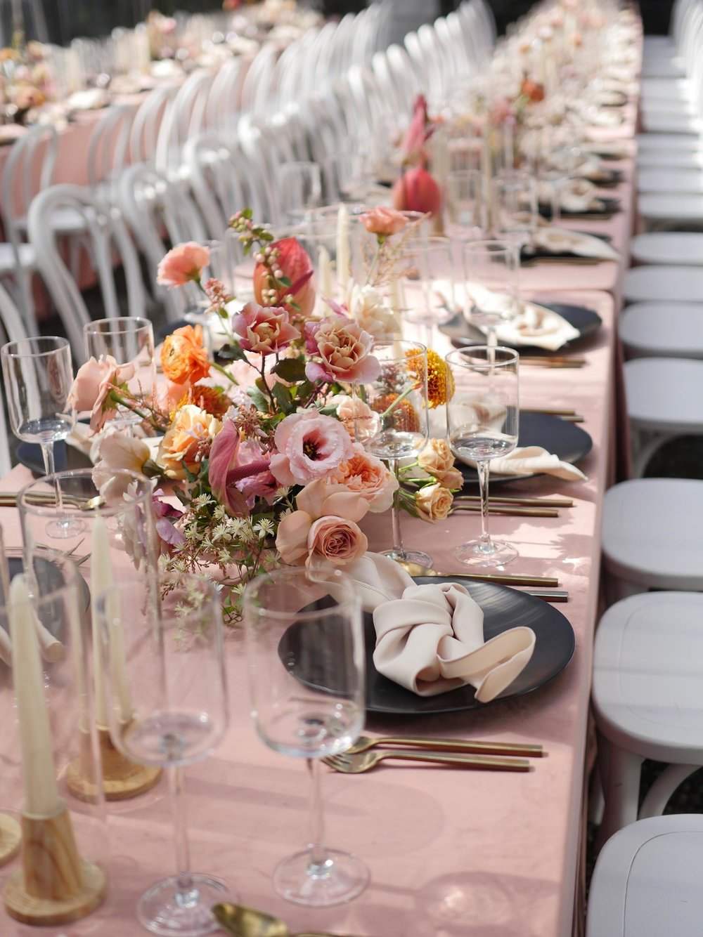 Wedding reception florals by Color Theory Collective
