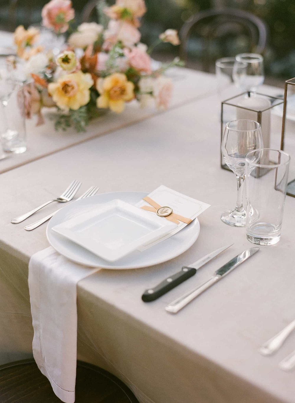 Reception table floral by Color Theory Collective