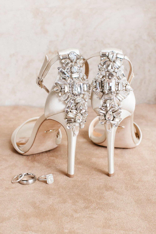 The bride's high heels