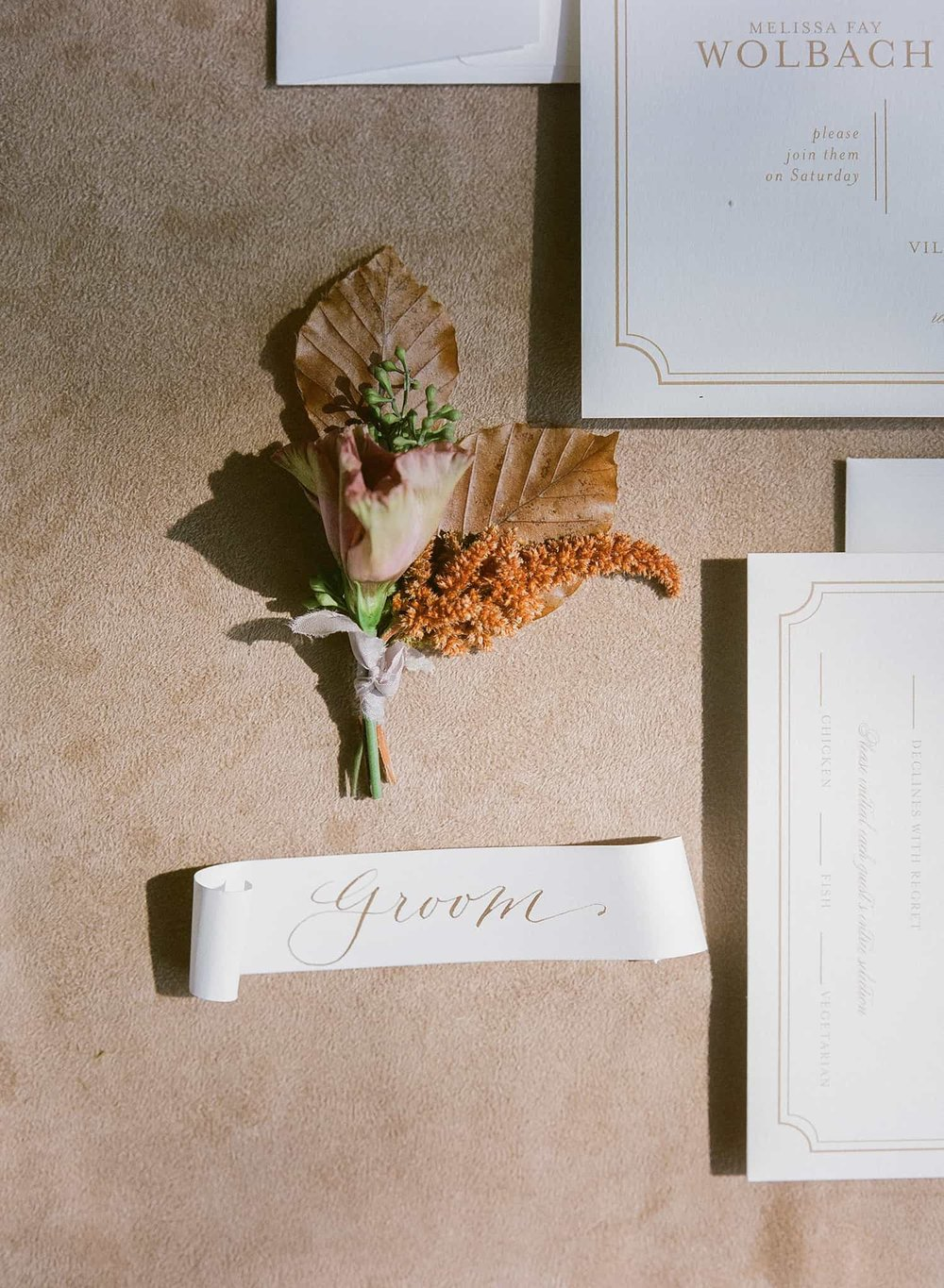 Wedding boutonniere by Color Theory Collective