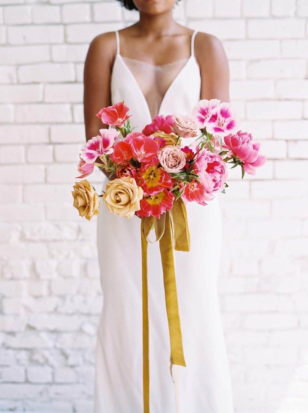 Contemporary bridal bouquet by Color Theory Collective