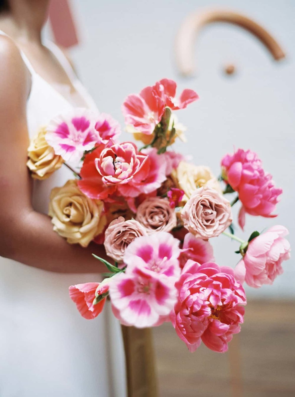Colorful bridal bouquet by Color Theory Collective