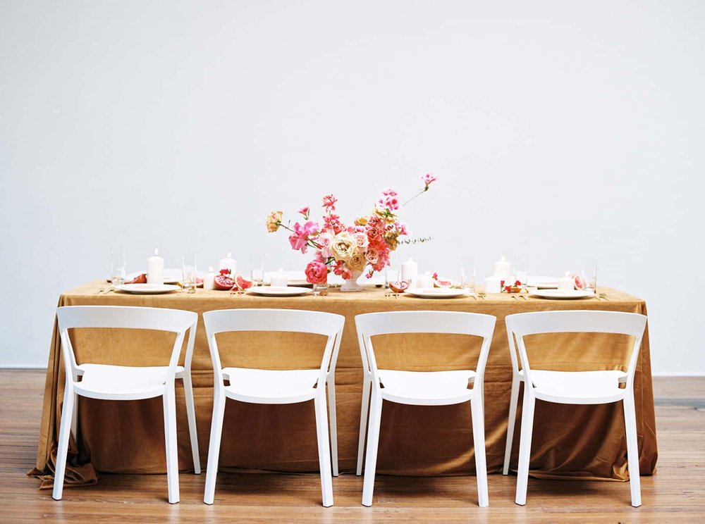 Wedding reception table designed and styled by Color Theory Collective