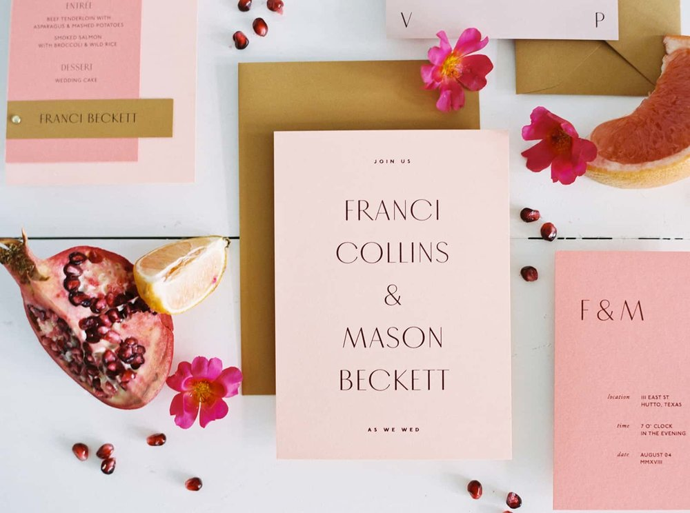 Hand-lettered stationary and fruit