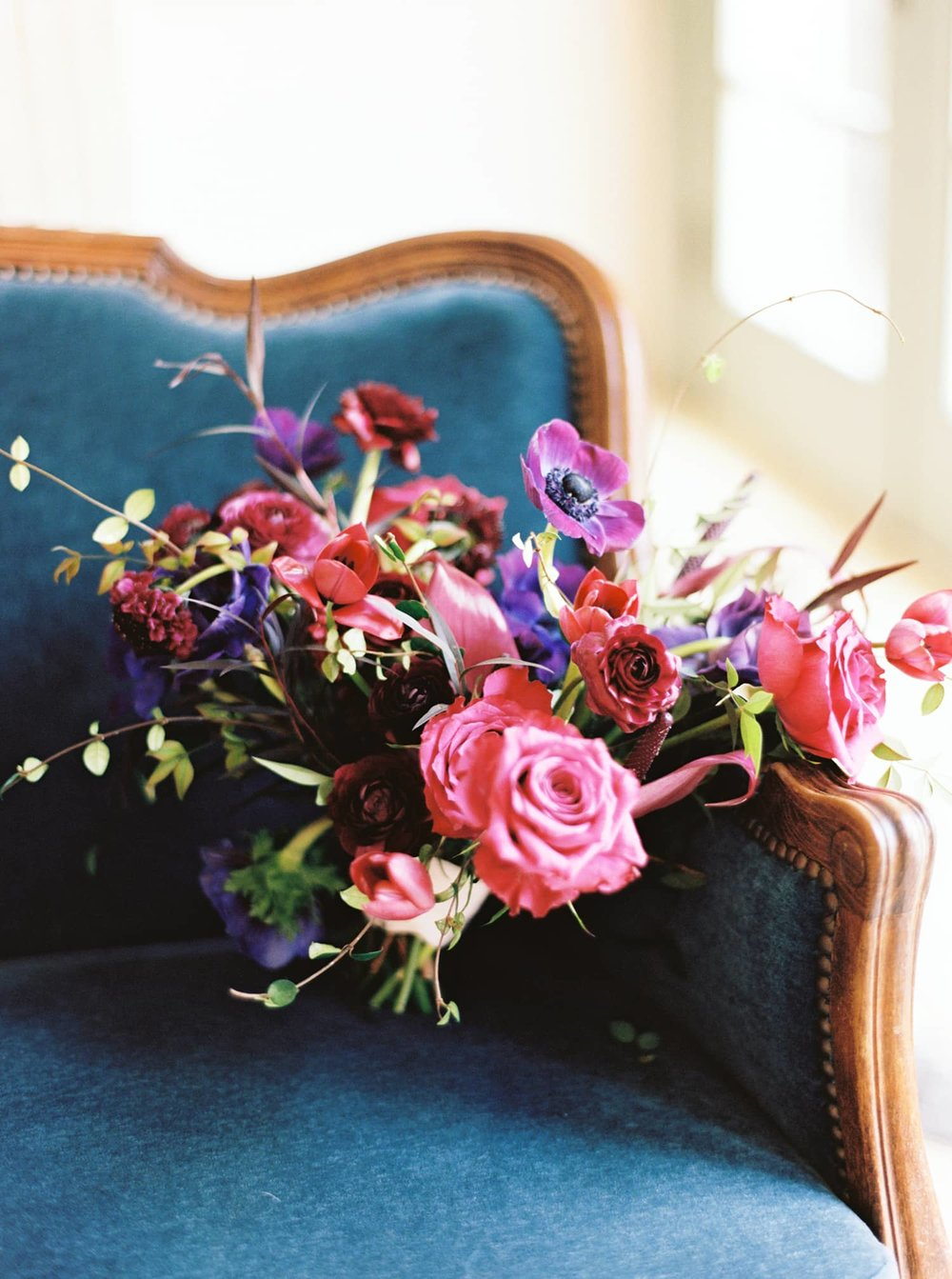 Jewel-toned bouquet by Color Theory Collective