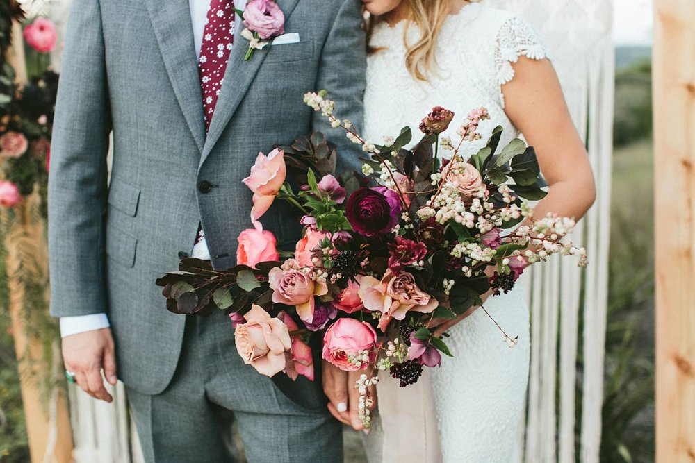 Pink and burgundy flowers by Portland florist