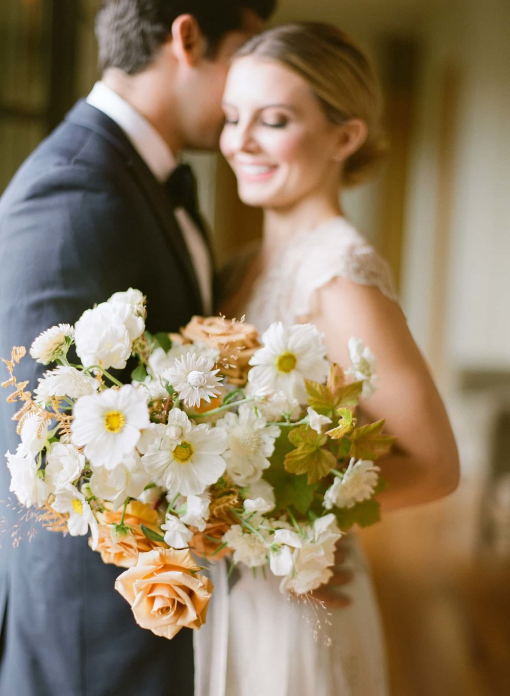 Fresh and textured bridal bouquet by Color Theory Collective