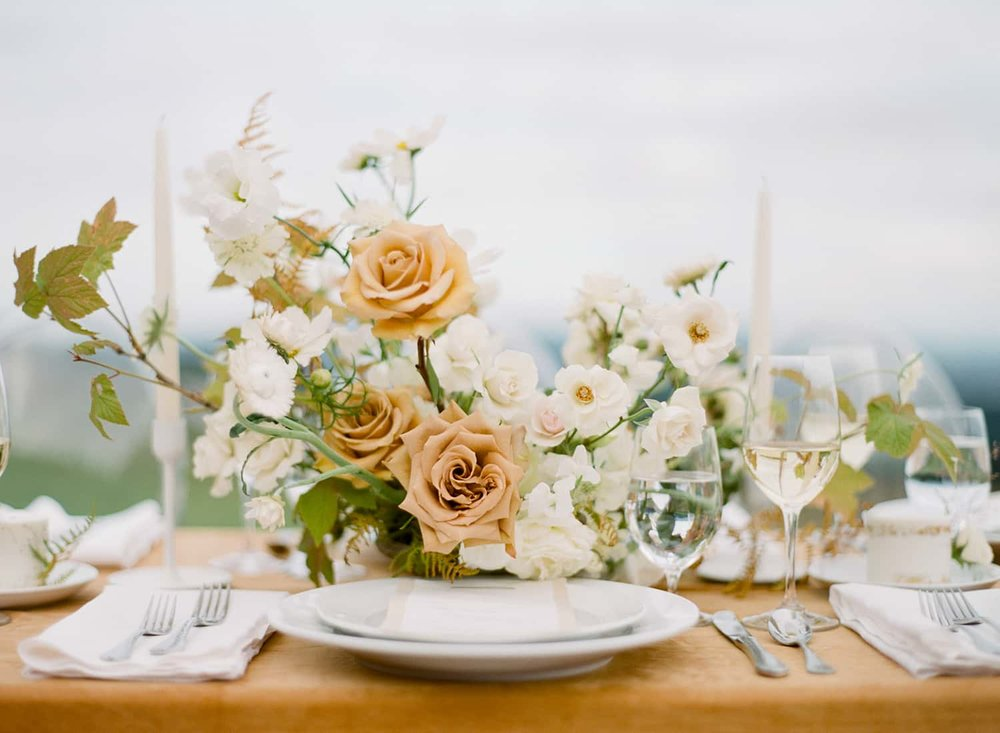 Golden and white wedding flowers by Color Theory