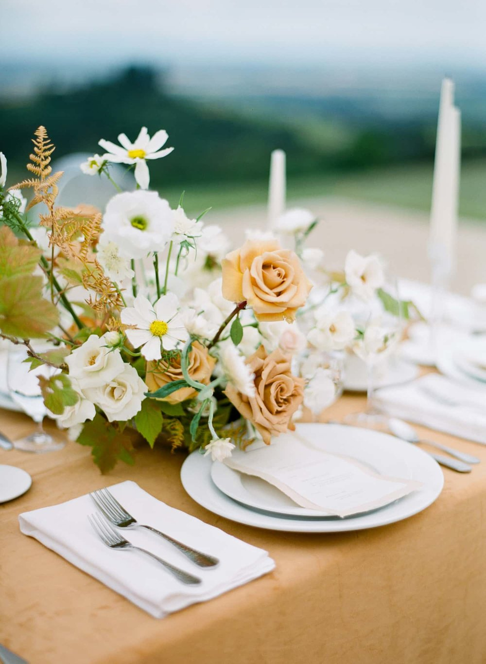 Photograph of centerpiece by Portland Florist, Color Theory