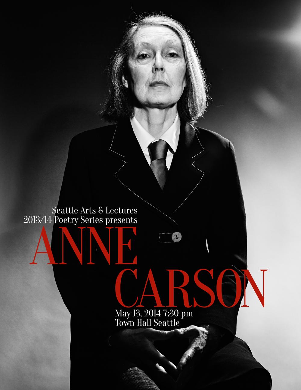 Anne Carson lecture poster, print, 2013