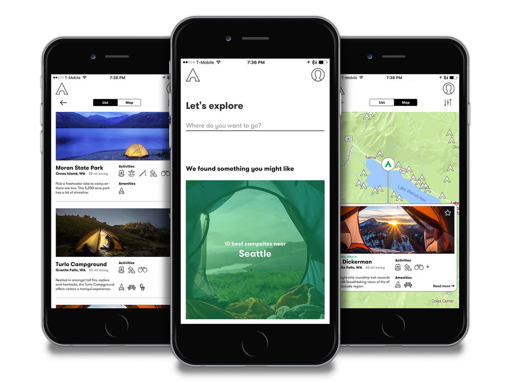 Rec.gov - A concept piece for an online app allowing users to browse, search for, and reserve campsites.