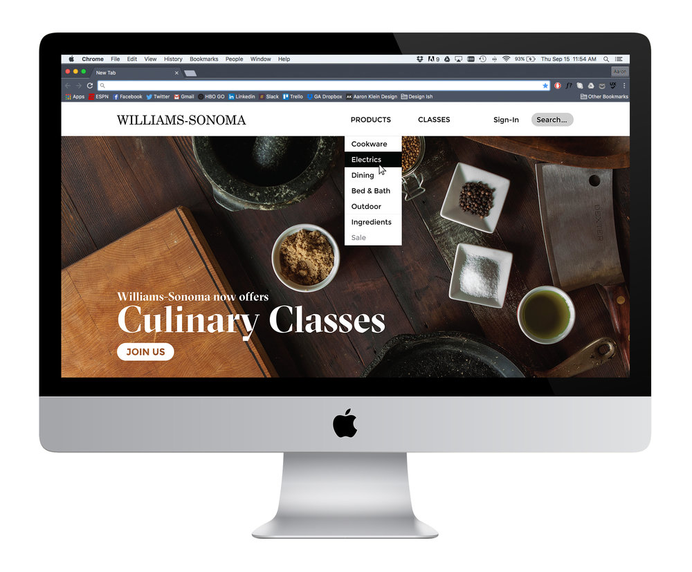 Williams-Sonoma - A concept makeover of the Williams-Sonoma desktop site with an emphasis on cooking classes.