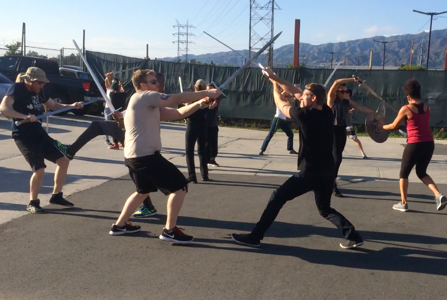 Stunt Rehearsal with large cast for Clash of Kings