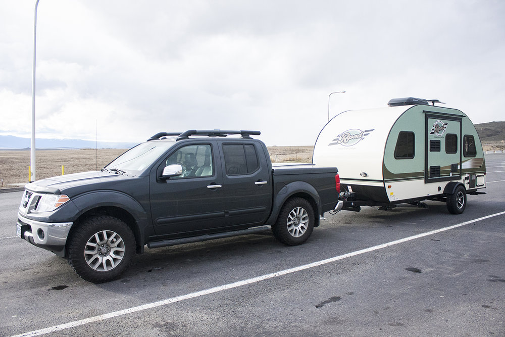Our short-lived Nissan Frontier, and the R-Pod we rented for the week.