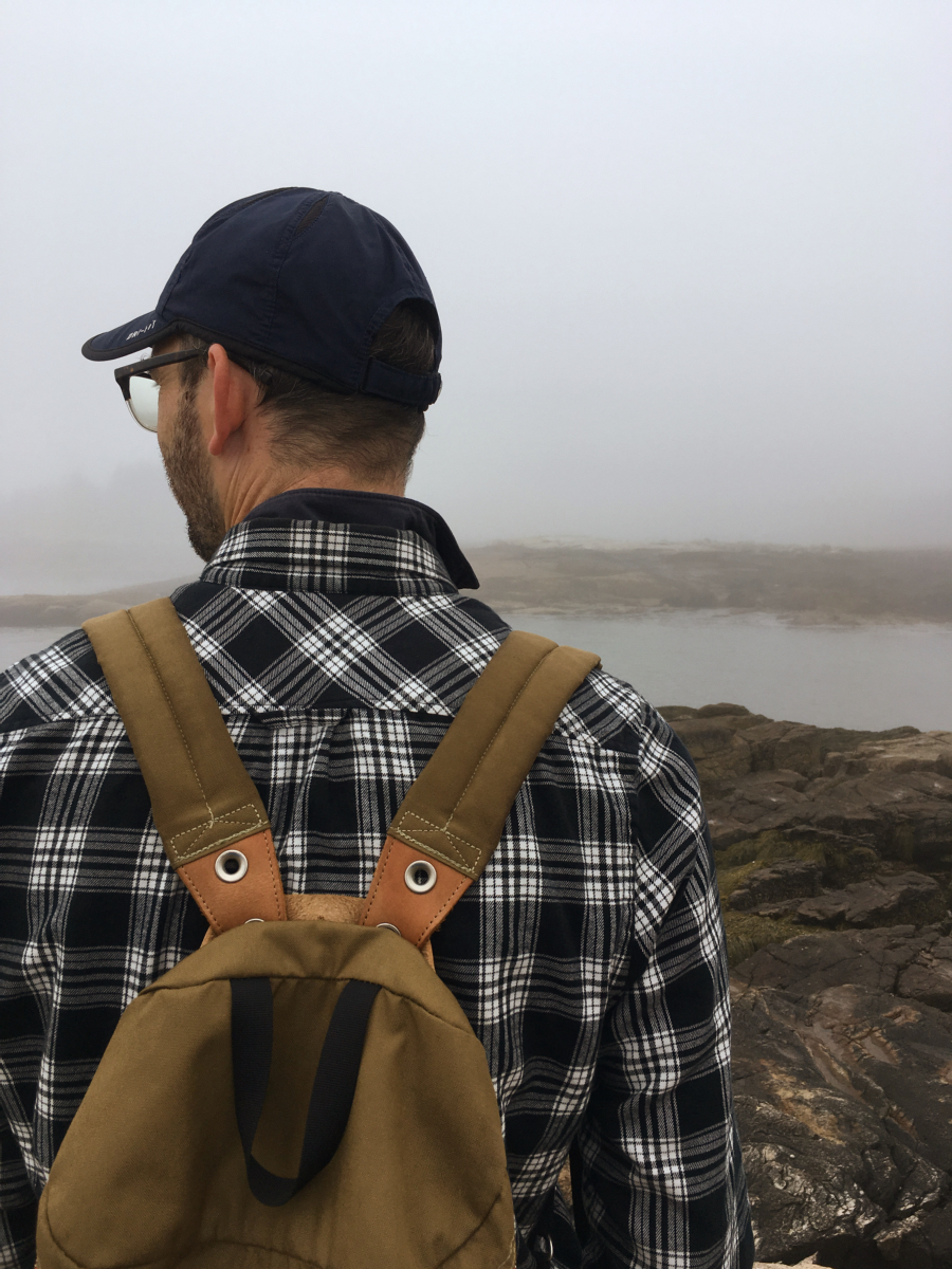 Navigating the fog on the Schoodic Peninsula.