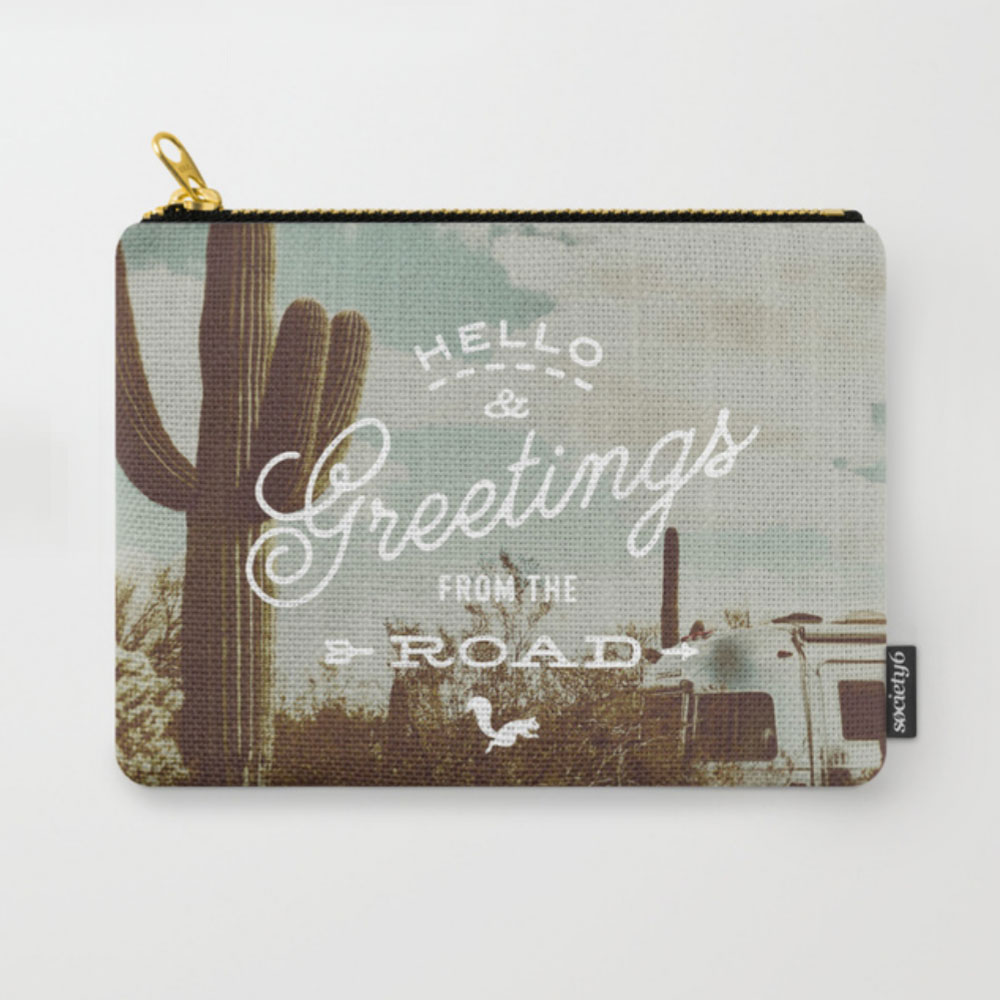 $15.99 on Society6 • Greetings from the Road Pouch by Busy Campers