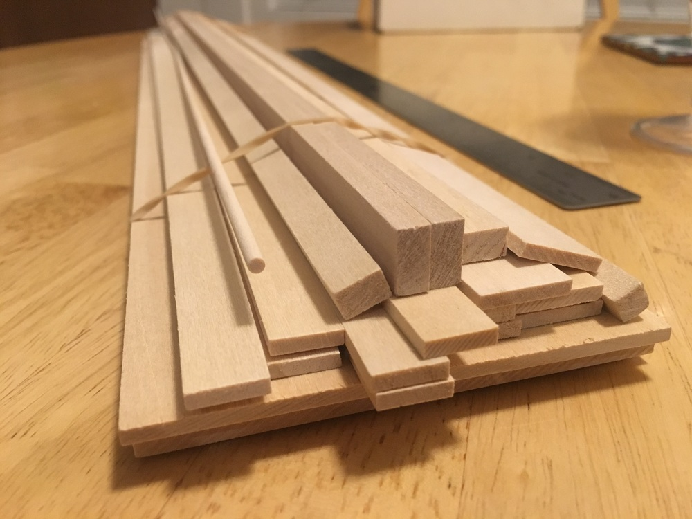 Various sizes of basswood purchased at Kit Kraft in Studio City, CA