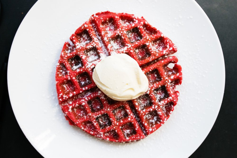 Red velvet waffles. Original recipe found here.