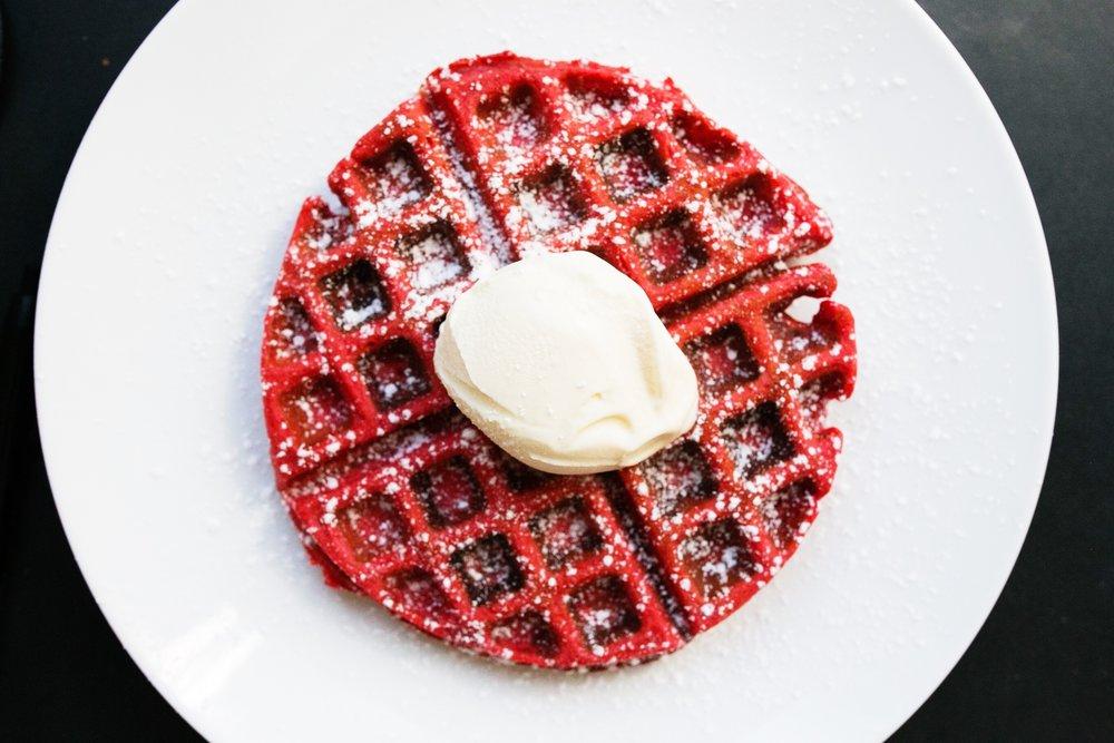 Red velvet waffles.  Original recipe found here.