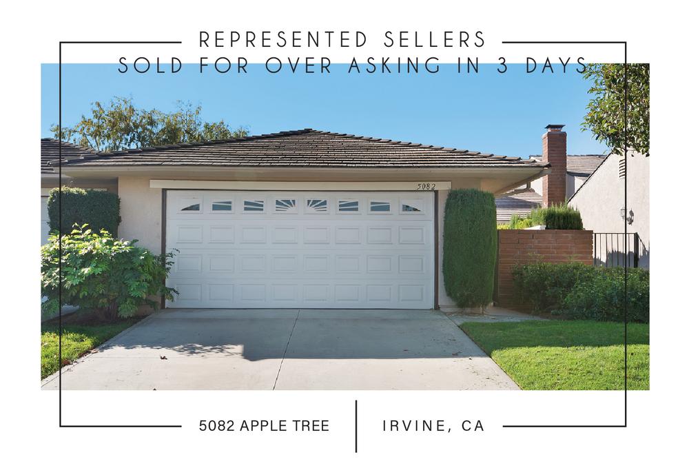 SOLD 11/15/2017    $622,000   5082 APPLE TREE, IRVINE, CA