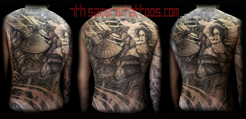 Samurai fighting Filipino warrior Lapu Lapu with Geisha and temple. Kai 7th Samurai men's back piece tattoo
