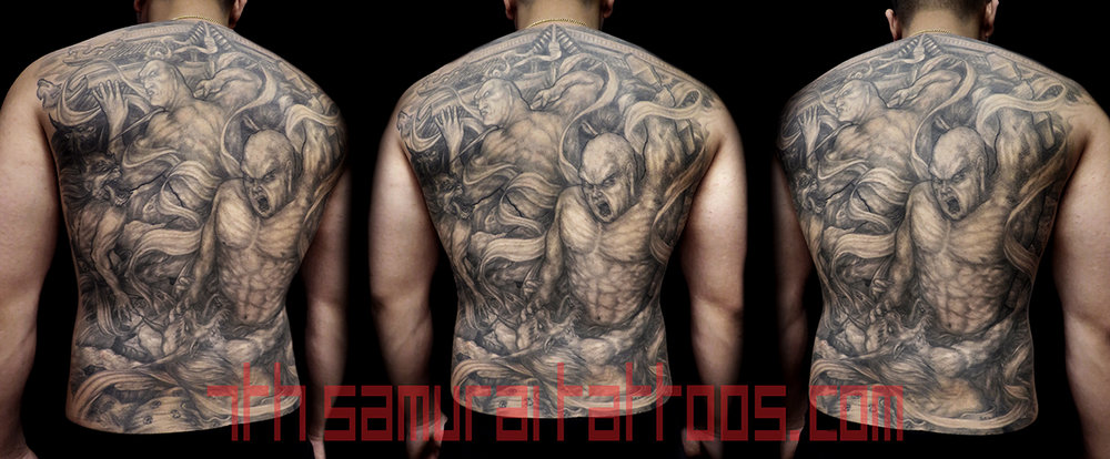 Nio Guardians Agyo Ungyo Raijin Fujin fighting Demons before Temple Kai 7th Samurai men's back tattoo