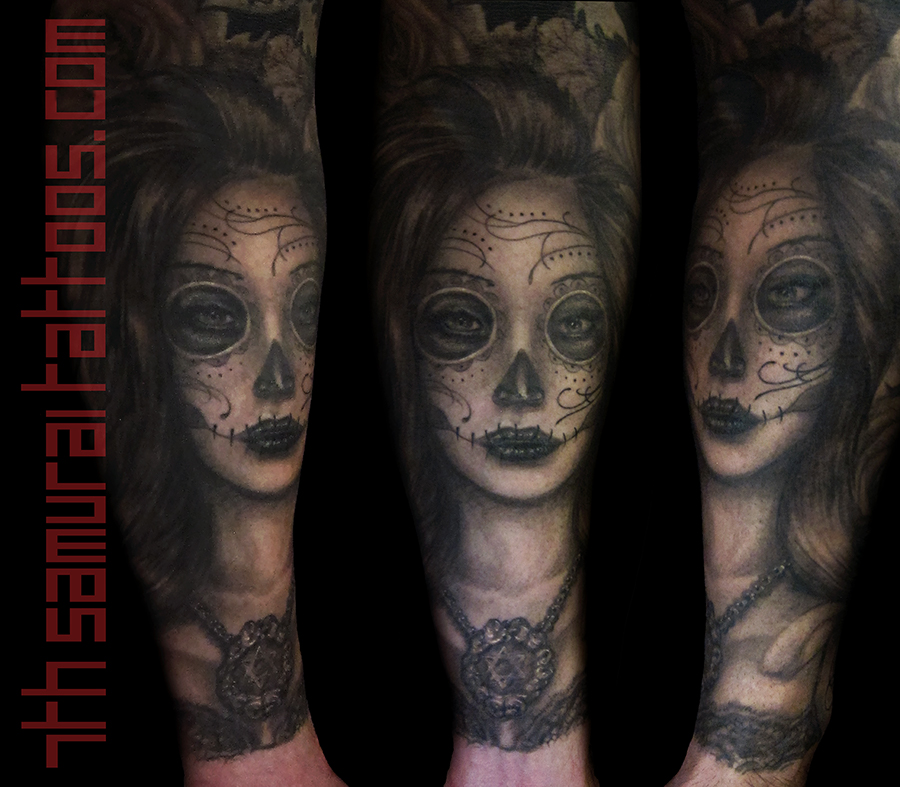 Day Of The Dead Sugar Skull Girl Woman Mens Kai 7th Samurai Arm