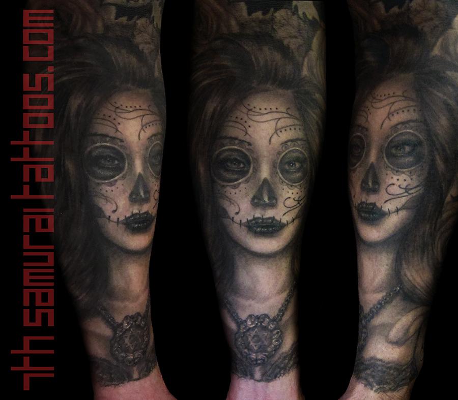 Day of the Dead (Sugar Skull) Girl arm tattoo