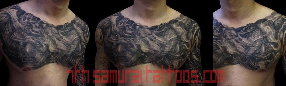 Samurai and Noh Hannya mask with Dragon. Kai 7th Samurai men's chest tattoo