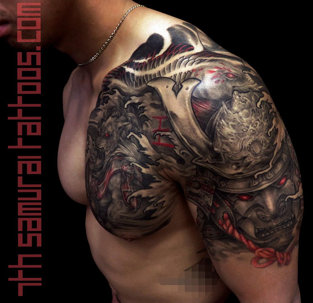 Samurai Fudog Arowana with red highlights. Kai 7th samurai men's chest tattoo