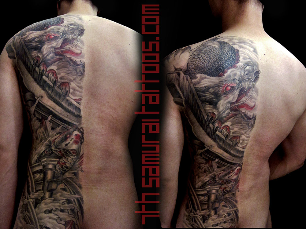 Dragon's Gate: Koi and Torii. Kai 7th Samurai men's hald back tattoo