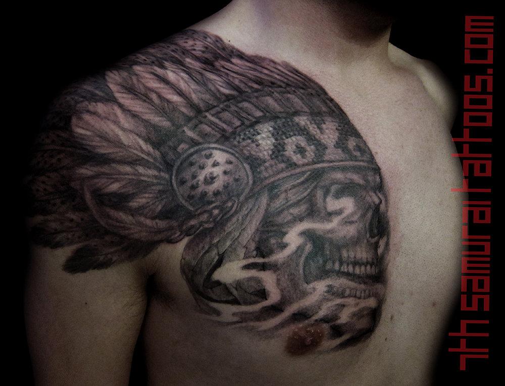 Native Indian Headdress on Skull. Kai 7th Samurai men's chest tattoo